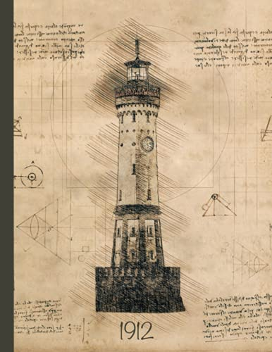 """* Vintage * Lighthouse Notebook: """"Used look & Retro style"""" 100 pages ,lined for Nautic Fans, Men, Woman, 8,5x11"""