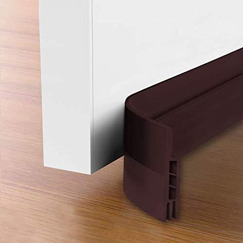 """Suptikes 2 Pack Door Draft Stopper,Door Sweep for Exterior & Interior Doors,Door Bottom Seal Dust and Noise Insulation Weather Stripping Draft Guard Insulator, 1-4/5"""" W x 37"""" L,Brown"""