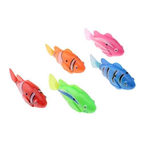 Escomdp Elektronisches Fischspielzeug, elektrisches Tier-Badespielzeug, Badewanne, Aquarium, Kinder, Weihnachten, Geburtstag, Geschenk, 5 Stück