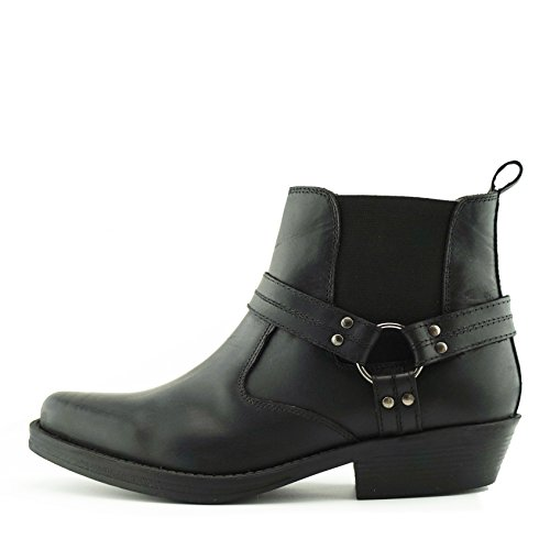 Herren Cowboy Ankle Boots Aus Leder Biker-Boots Aus Leder Toe - UK 9/EU 43, Black-S