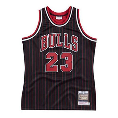JIEBANG Camisetas De Baloncesto para Hombre,Jǒrdǎn 23# Bǔlls Bordado Swingman Transpirable Y Desgaste Resistente a La Camiseta De Ventilador,90s Ropa De Hip Hop para Fiesta Black.Red-M