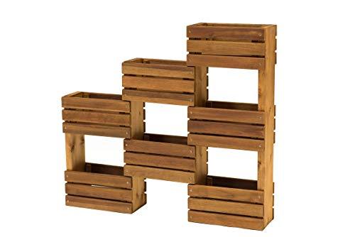 Nativ Hängeregal oder Standregal aus Holz, für Kräuter und Blumen, für Balkon oder Terrasse, Kräuterregal, Wandregal, Dekoregal