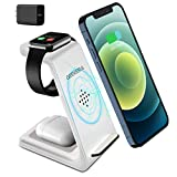 Wireless Charging Stand, GEEKERA 3 in 1 Wireless Charger Charging Dock Station for Apple Watch 6 SE 5 4 3 2, Airpods 2/Pro, iPhone 12/12 Pro/12 Pro Max/ 11/11 Pro/X Qi-Certified Phones