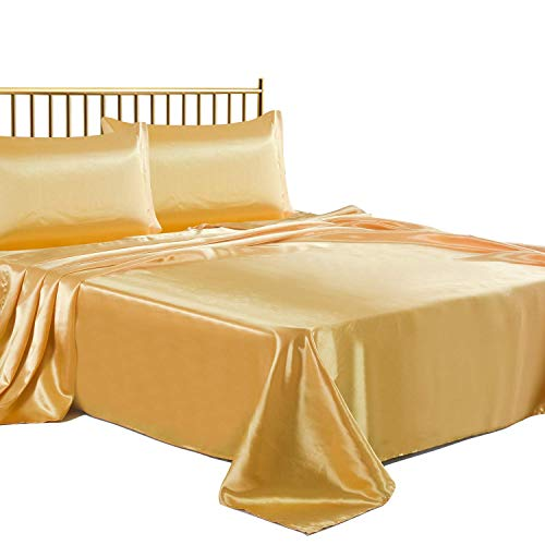Best Bedding Store Luxurious Ultra Soft Silky Satin 4 Piece(1 Flat Sheet + 1 Fitted Sheet + 2 Pillow Cases) Bed Sheet Set with 19 inches Deep Pocket, Gold, Cal-King