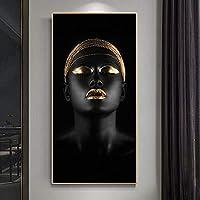 壁に金の宝石を持った黒人女性のHD印刷Portriatアートポスターとプリントアフリカのアート装飾写真60x120cmフレームなし
