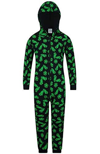 The PyjamaFactory Schlafanzug mit Fußballschuh- und Fußballmuster, 100 % Baumwolle, Loungewear Gr. 11-12 Jahre, Schwarz
