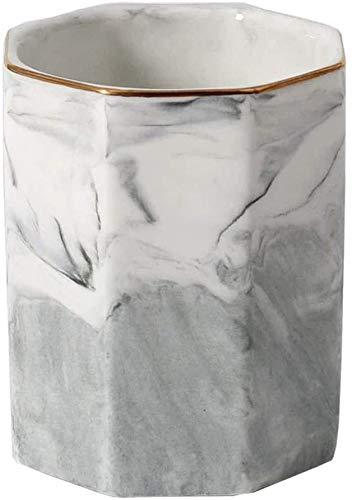 Portapenne in ceramica Portavasi Modello in marmo Portamatite per trucco Porta pennelli Organizer per scrivania (grigio)