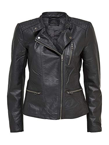Only Onlfreya Faux Leather Biker Otw Noos Abrigo de Vestir, Negro (Black), 40 para Mujer
