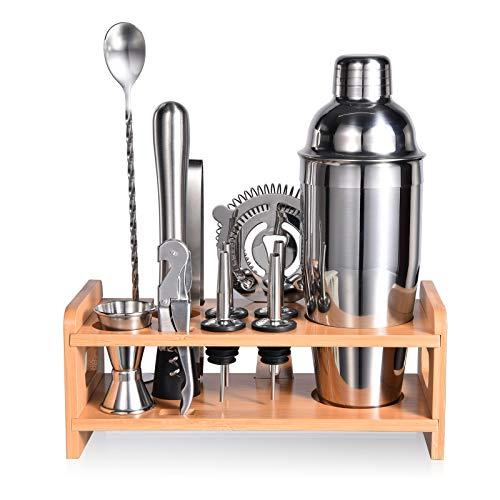 Esmula 750ml Cocktail Shaker Set mit stilvollem Bambusständer, 12-teiligem Barkeeper-Kit für Mixgetränke, professionelles Bar-Werkzeugset aus Edelstah