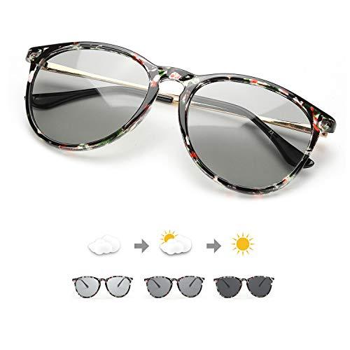 TJUTR Photochromatisch Sonnenbrille für Herren Damen, Polarisiert Klassische Retro Runde Brille Autofahren- 100% UV400 Schutz (Schwarz Blumig/Grau Photochromatisch)