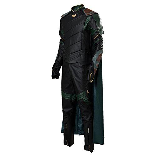 xiemushop Costume da Film per Uomo Abiti Cosplay Canotta in Pelle Artificiale Loki Cape con Guanti E Pantaloni, XL