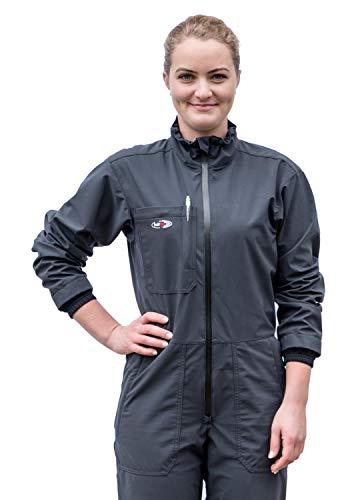 hairtex Overall Damen | Arbeitsanzug | Schutzanzug | Schützt zuverlässig vor Stallgeruch | Wasserdichtes Material | Schmutzbeständig | Atmungsaktiv (Anthrazit, S)