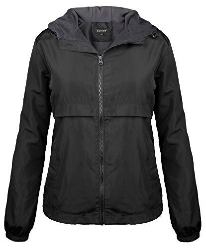 iloveSIA Womens Fleece Lined Hooded Jacket with Rainproof Windproof Shell US 6 Black