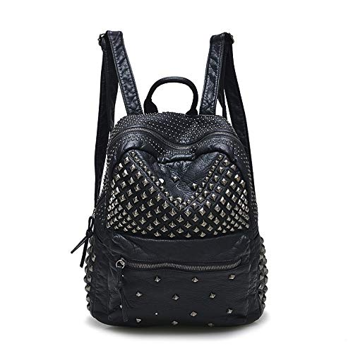 Yi-xir Mochilas de piel lavadas con diseño de moda para mujer, mochilas de viaje y mujer, ligeras y duraderas (color: negro, tamaño: A)