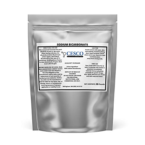 Cesco Solutions Sodium Bicarbonate Powder - 100% Pure Baking Soda for Raising Alkalinity in Pool, Cleaning Household Items - Multipurpose NaHCO3 for DIY Projects in Resealable Packaging (25 lbs)