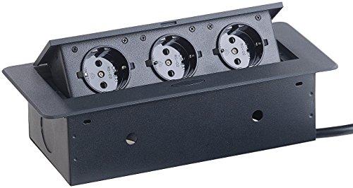 revolt aufklappbare Steckdose: Versenkbare Einbau-Tisch-Steckdose, 3-Fach, 3.680 Watt (Einbau Steckdosenleiste)
