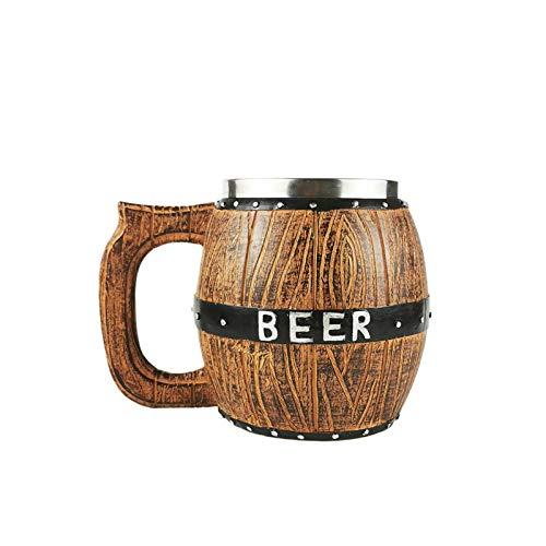Ganquer Jarra de cerveza de madera, 580 ml, estilo retro de doble pared, taza de té...