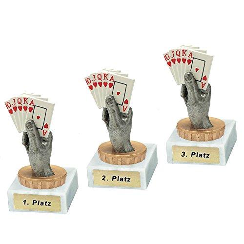RaRu 3 Poker/Skat-Pokale mit Wunschgravur und Resin-Klebefigur