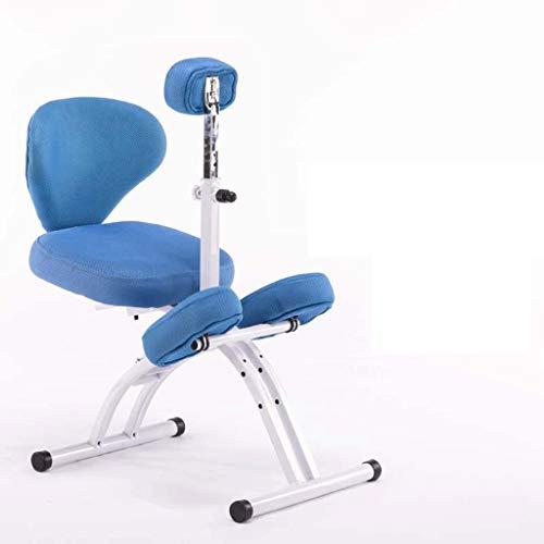 LIUBINGER Drehbarer Bürostuhl Kniestuhl, ergonomischer Computerstuhl, Lernen Stuhl mit Lifting Haltungskorrektur for Kinder, Geeignet for 110-180cm (Color : Blue)