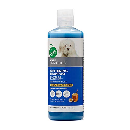 GNC Pets Vitamin Enriched Whitening Shampoo for Dogs, 17 Ounces - Honey Ginger Scent | Cleans & Brightens Coat (SF8216)