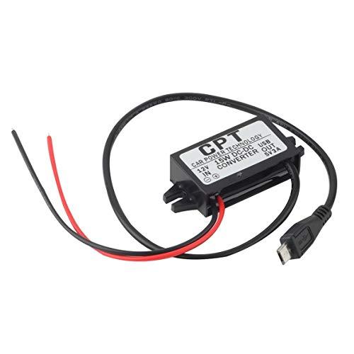 Heaviesk Zuverlässiges Kfz-Netzteil Ladegerät DC Converter Modul Einzelanschluss 12V bis 5V 3A 15W mit Micro-USB-Kabel CPT-UL-6