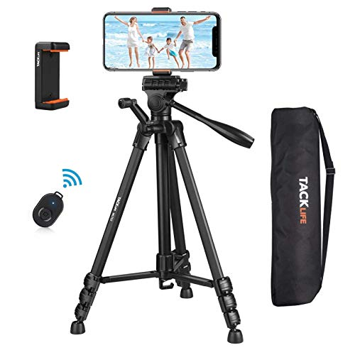 "Tripod 60-Inch, Lightweight Aluminum Camera/Phone Tripod with Bluetooth & 1/4"" Mounting Screw, 360 Degree Camera/Phone Tripod with Backpack, Maximum Load 11 LB, Phone Stand, TACKLIFE MLT02"