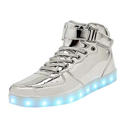 High Top LED Schuhe USB Turnschuhe für Männer Frauen mit Fernbedienung-40 (Silber)