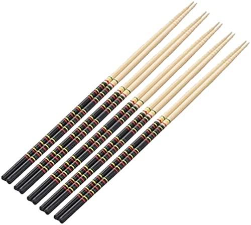 Set de Regalo de Palillos Chinos de 10 Pares De Palillos De Cocina, Palillos De Bambú Reutilizables Extra Largos De Madera Japoneses Antideslizantes Para Ollas Calientes, Fideos, Freír