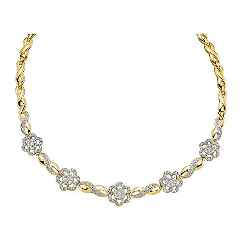 Collana da donna in oro giallo 14 ct con diamanti rotondi a grappolo di fiori dell'infinito, 2,00 Cttw