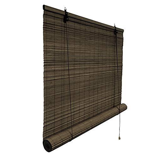 Victoria M. Bambusrollo Blickdicht 150 x 220 cm, Hochwertiges Fenster-Rollo Bambus für Innen, Praktisches Sonnenschutz und Sichtschutz Rollo Seitenzugrollo für Fenster und Türen in Dunkelbraun
