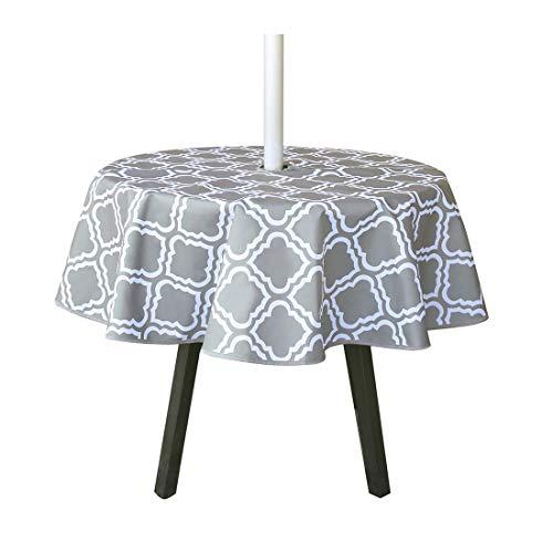 Mantel redondo impermeable de 150 cm con agujero para sombrilla y cremallera, mantel al aire libre para jardín, patio, fiesta de vacaciones (patrón de flores)