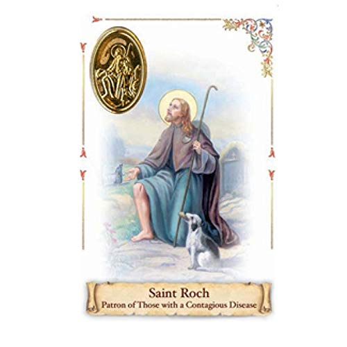Saint Roch Rocco Patron of Those with Communicable Conditions Blessed Prayer Card with Gold Leaf Heat Sealed Medal