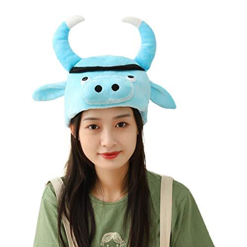 JIABAN Sombrero de peluche con orejas de cuerno azul para disfraz, disfraz de fiesta