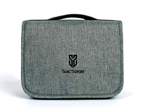 SacSage Trousse de toilette de voyage à suspendre pour femme et homme Sac de douche étanche avec crochet intégré de qualité, gris (Gris) - DZ05