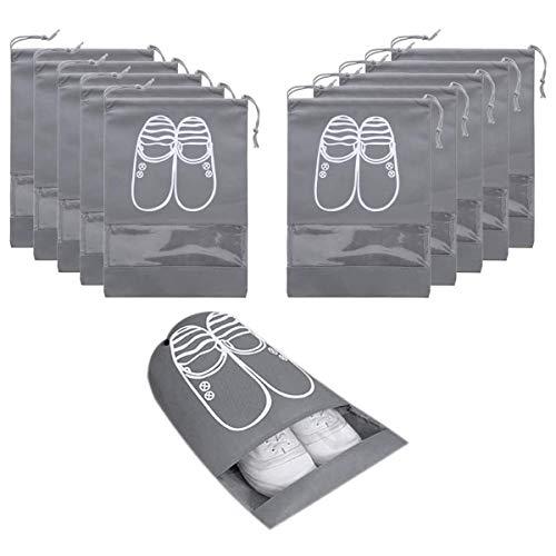 AIRERA 10 draagbare stofdichte ademende reisschoen organizer zakken transparant venster voor laarzen, hoge hak trekkoord, ruimtebesparende opslag zakken