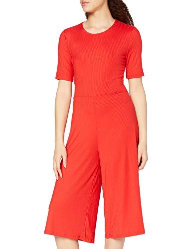 Amazon-Marke: find. Damen Jumpsuit Rib Cropped Jumpsuit_18AMA040, Rot (ROJO), 36, Label: S