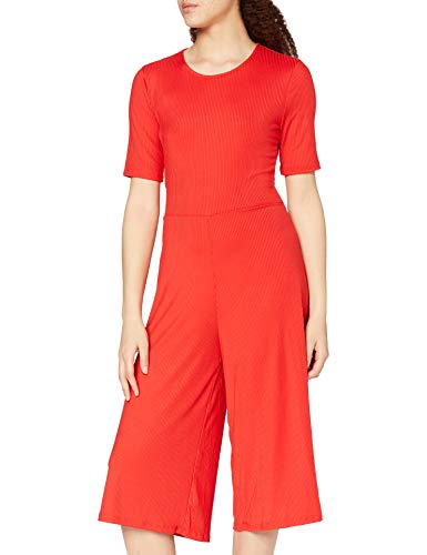 Marca Amazon - find. Rib Cropped Jumpsuit_18AMA040 - Jumpsuit Mujer, Rojo (ROJO), 38, Label: S
