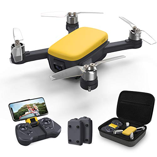 Holy Stone ドローン カメラ付き GPS搭載 2K HDカメラ 屋外 ブラシレスモーター 広角 収納ケース付き 小型 バッテリー2個 飛行時間32分 セルフィードローン SPORTモード フォローミーモード 生中継 高度維持 モード1/2自由転換可 国内認証済み HS166Y(イエロー)