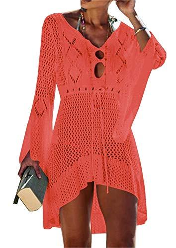 Jinsha Gestrickte Bikini Cover Up Strandponcho Strandkleid für Damen Sommer Pareos (Orange)