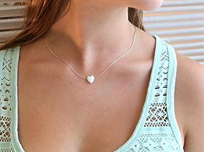 Collier coeur en opale blanche avec fil d'argent et longueur de fil 41 cm + extension de 5 cm