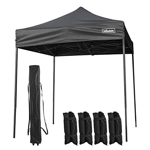 Woodside 2m x 2m Pop Up Garden Market Stall Gazebo Marquee Tent - BLACK