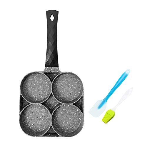 Pfannkuchen Pfanne, 4 Loch Pancake Pfanne, Spiegelei Pfannkuchenpfanne, Antihaftbeschichtet Gusseisenpfanne 19cm/7.48inch (Option 3)