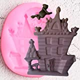 TAOZIAA DIY Ghost House Silicone Mold Haunted House Fondant Molds Halloween Cake Decorating Cookie Baking Candy Chocolate Gumpaste Mould