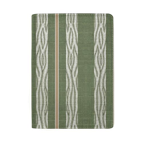 Lawn Chair Vertical Green White Brown Stripe Passport Holder Wallet Cover Case Leather Travel Wallet ID Card Case