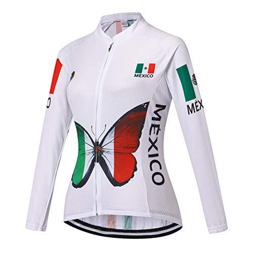 Women Cycling Jersey Long Sleeve Bike Jacket Biking Shirt Bicycle Clothing Mexico Style White Size M