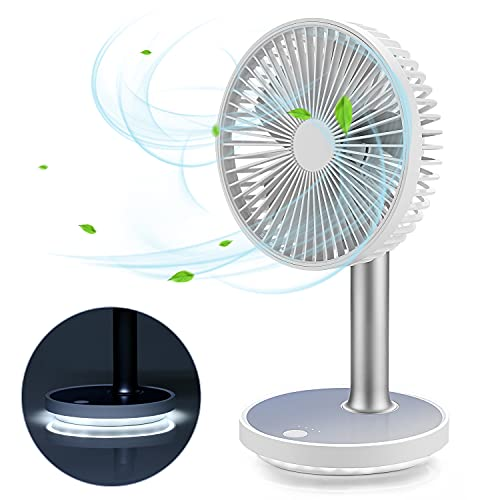 DEKOPRO USB Desk Fan Rechargeable Portable Table Fan Strong Airflow Adjustment LED Light Operation with 4 Speeds Battery Powered for Office Travel Outdoor Bedroom