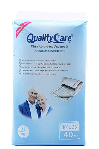 QualityCare Ultra Absorbent Adult Disposable Underpads for Incontinence, Extra Large Size (40 Count - 30