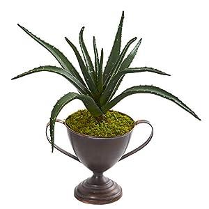 """Silk Flower Arrangements Nearly Natural 16"""" Aloe Succulent Artificial Metal Goblet Silk Plants Green"""