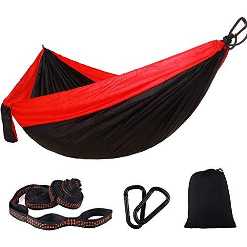 Hamacs, Meubles de Camping Tissu de Parachute extérieur balançoire Bicolore Rangement Pratique Charge Durable 200 kg (Couleur: Rouge + Noir, Taille: 275 * 140 cm) Confortable