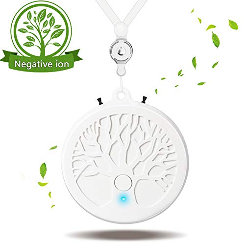 Wearable Air Purifier, Portable Negative Ion Generator, Personal Air Purifier Around the Neck, USB Rechargeable Air Cleaner, High Concentration Negative Ion Air Freshener for Adults Kids (white)